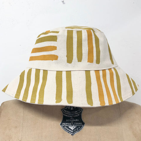 OCHRE GRID BUCKET HAT