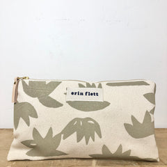 OATMEAL LOTUS CLUTCH ZIPPER BAG
