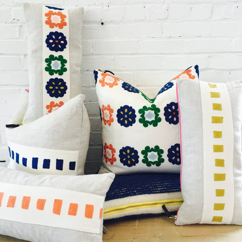 MANGO SQUARES EMBROIDERY BAND LINEN PILLOW