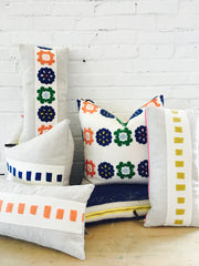 BOHO EMBROIDERY BAND LINEN PILLOW COVER
