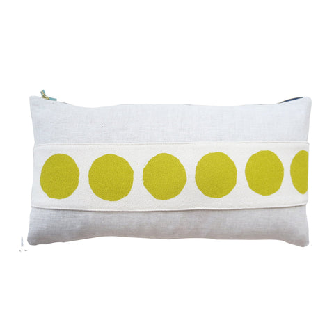 CIRCLE BAND LINEN PILLOW COVER IN GOLDEN ROD