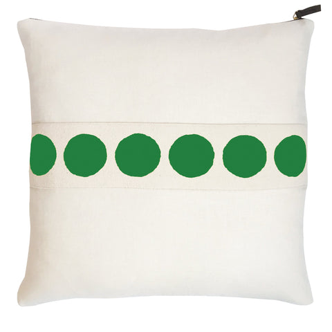 KELLY GREEN CIRCLE BAND OYSTER LINEN PILLOW
