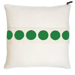CIRCLE BAND OYSTER LINEN PILLOW COVER IN KELLY