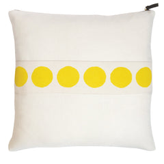 CIRCLE BAND OYSTER LINEN PILLOW COVER IN LEMON