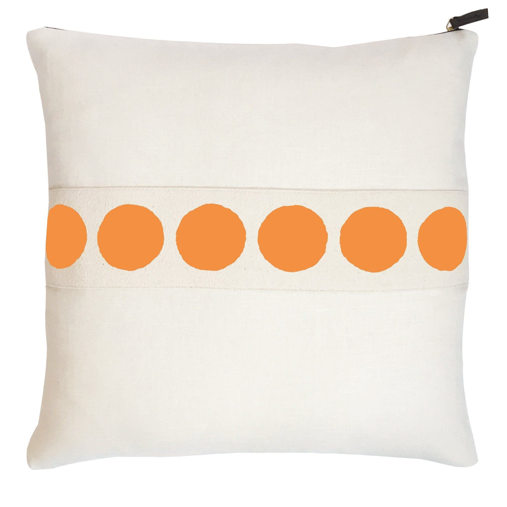 CIRCLE BAND OYSTER LINEN PILLOW COVER IN MANGO