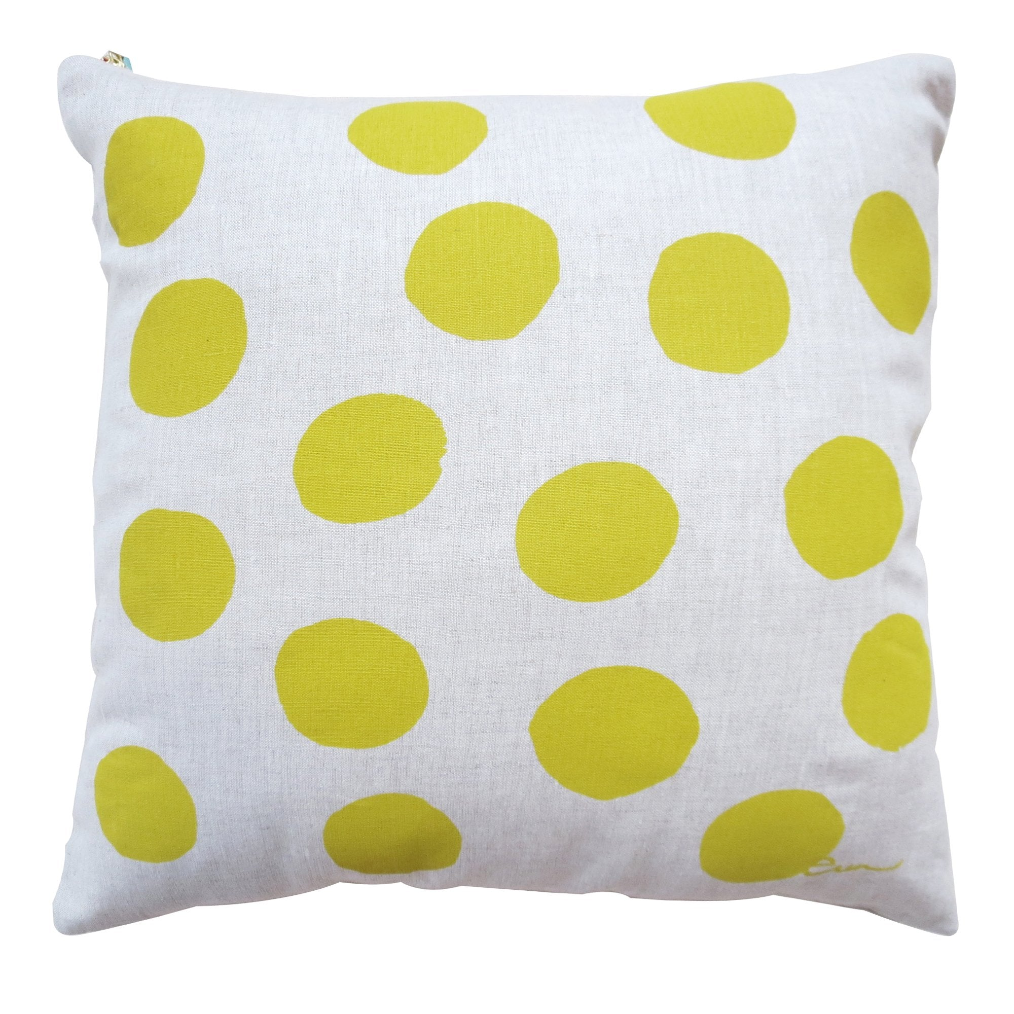 GOLDEN ROD BIG DOT OATMEAL LINEN PILLOW
