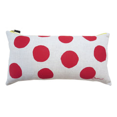 RED BIG DOT OATMEAL LINEN PILLOW