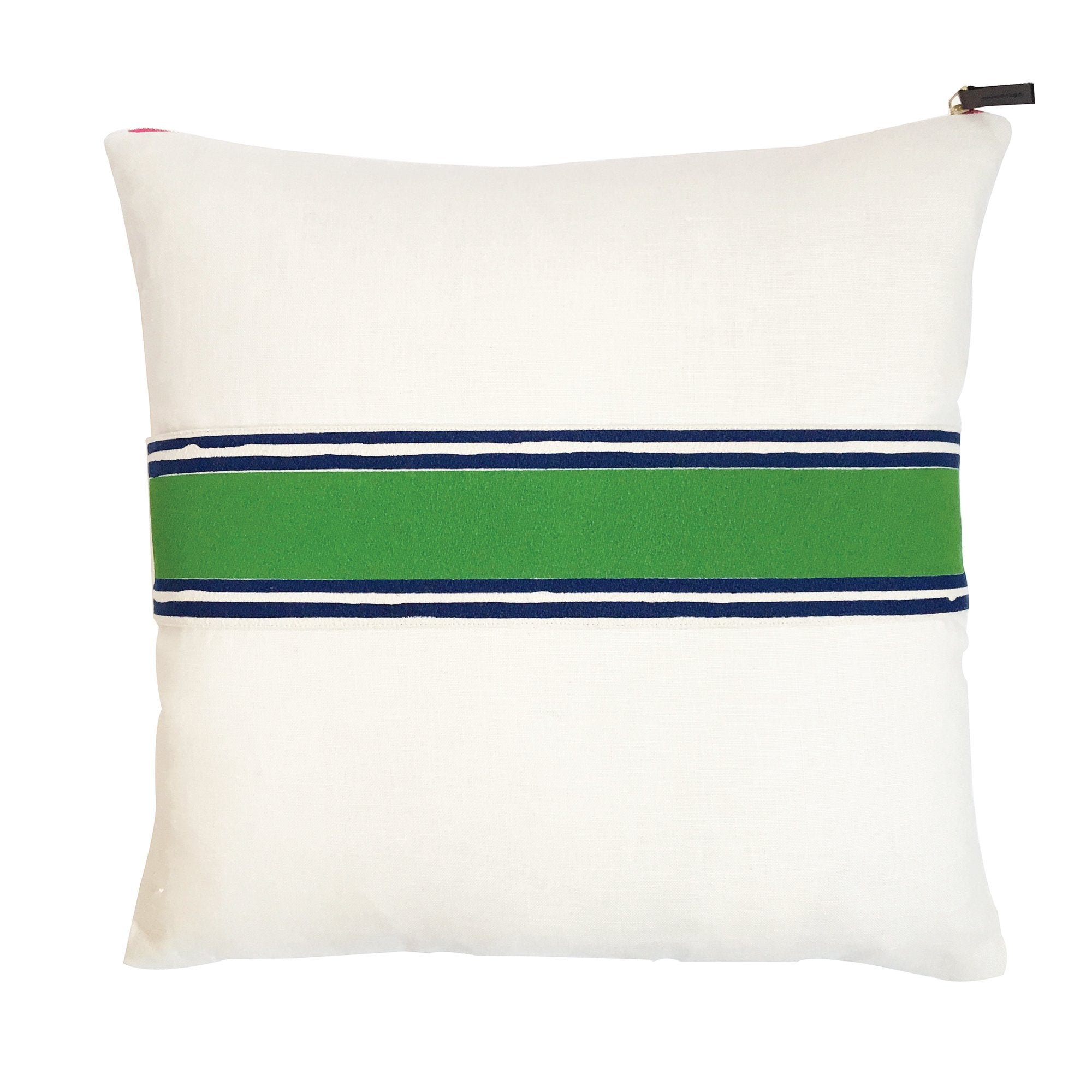 KELLY + NAVY TWO COLOR BAND ON OYSTER LINEN PILLOW