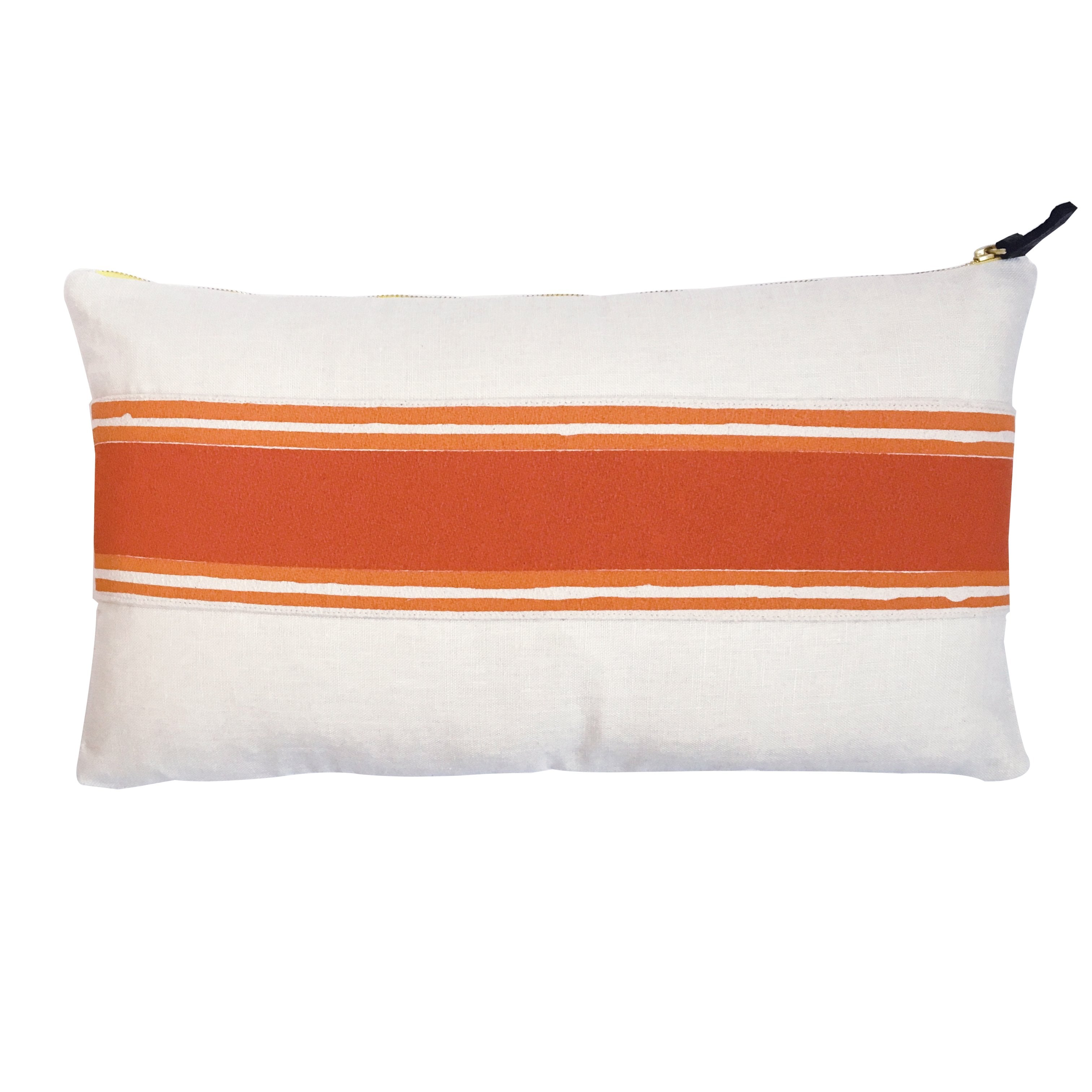 TOMATO + MANGO TWO COLOR BAND ON OYSTER LINEN PILLOW