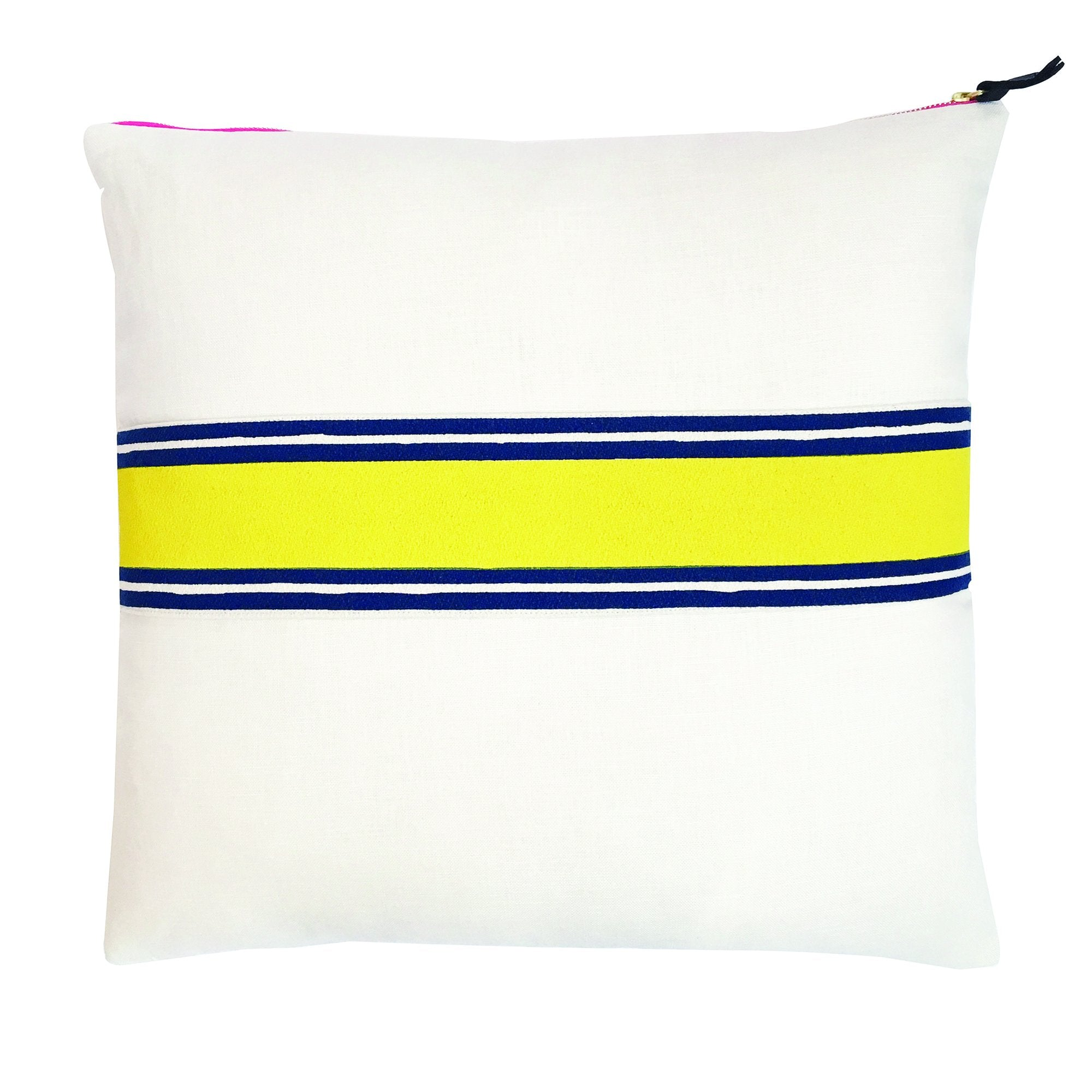 LEMON + NAVY TWO COLOR BAND ON OYSTER LINEN PILLOW