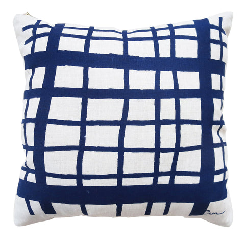 PICNIC OATMEAL LINEN PILLOW COVER IN NAVY