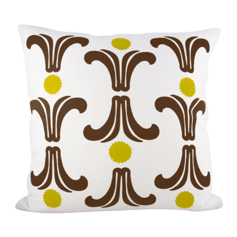 RISING SUN PILLOW COVER IN GOLDEN ROD + CHOCOLATE