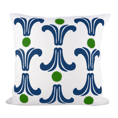 RISING SUN PILLOW COVER IN KELLY + NAVY