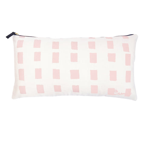 SQUARES OYSTER LINEN PILLOW COVER IN BLUSH