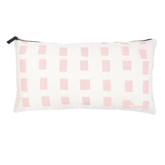 BLUSH SQUARES OYSTER LINEN PILLOW