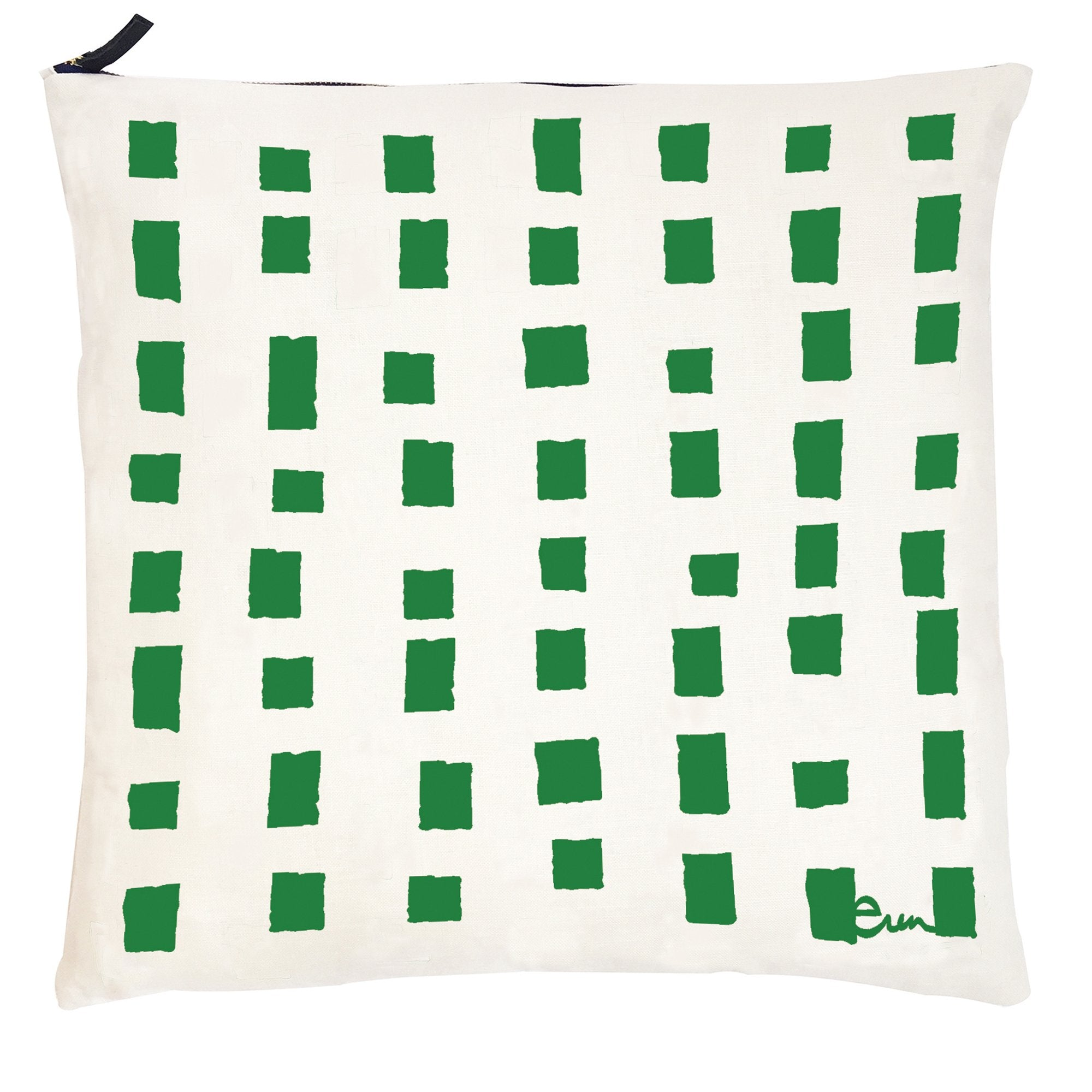 KELLY SQUARES OYSTER LINEN PILLOW
