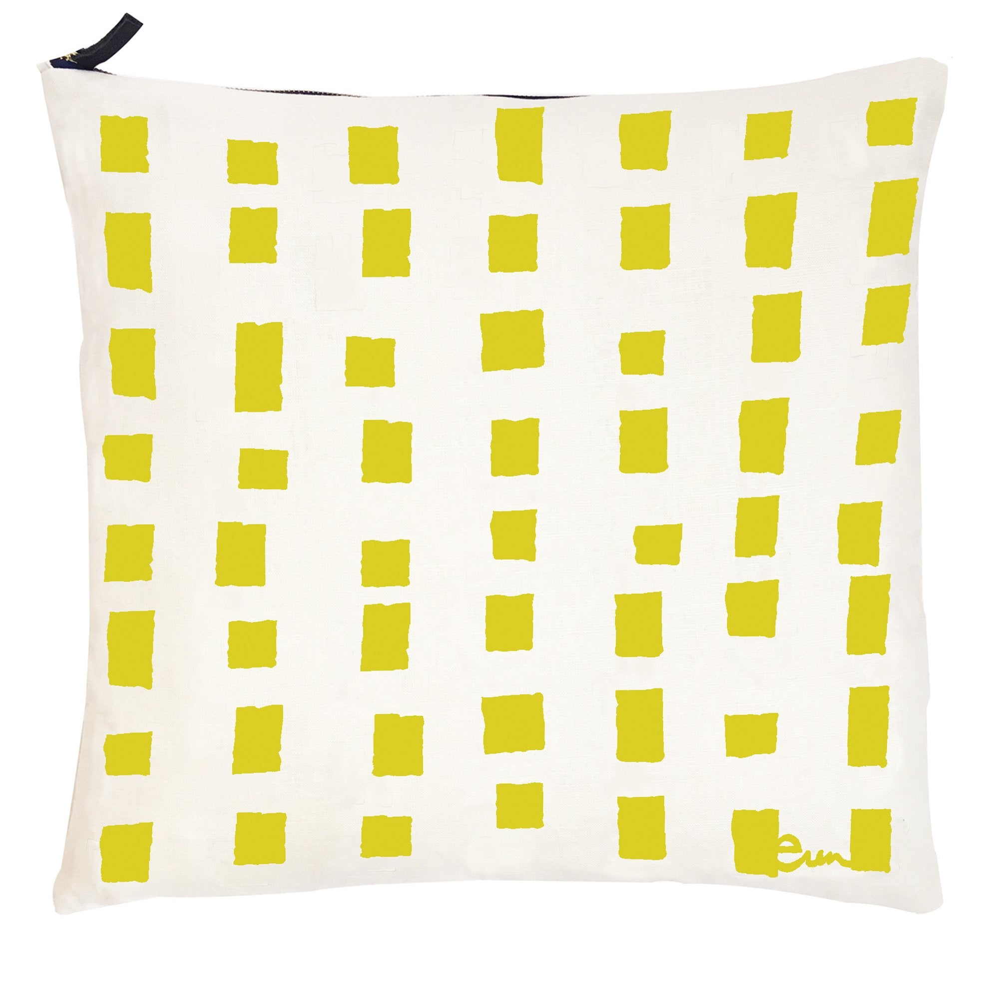 LEMON SQUARES OYSTER LINEN PILLOW