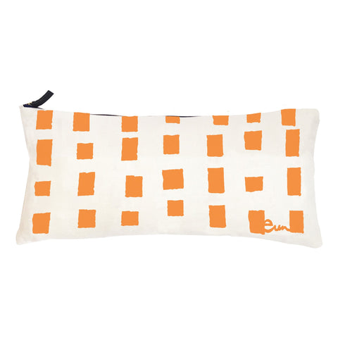 SQUARES OYSTER LINEN PILLOW COVER IN MANGO