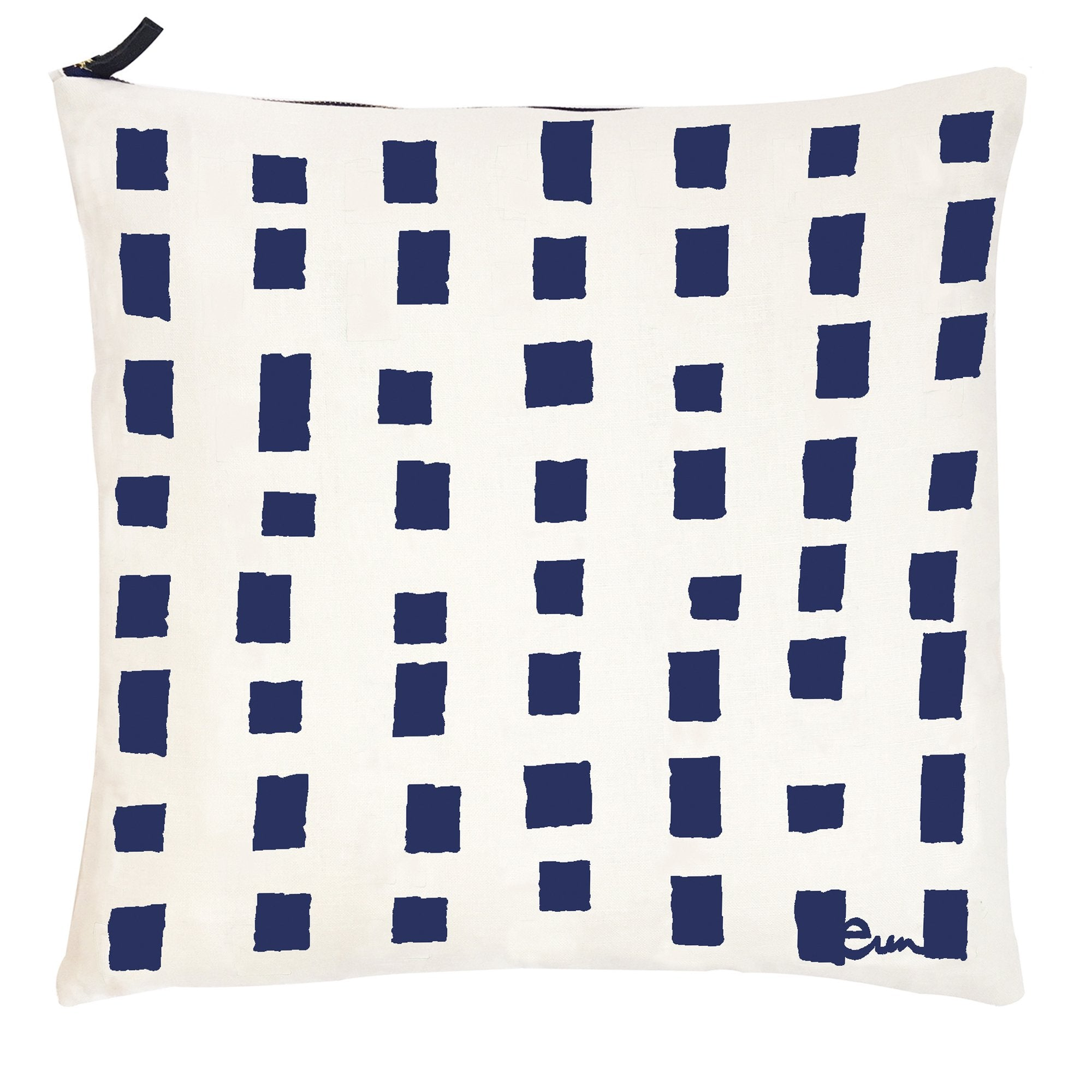 NAVY SQUARES OYSTER LINEN PILLOW