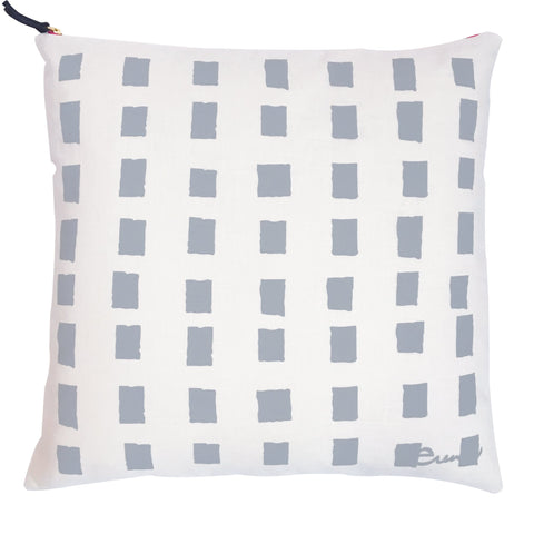 RAINY DAY SQUARES OYSTER LINEN PILLOW
