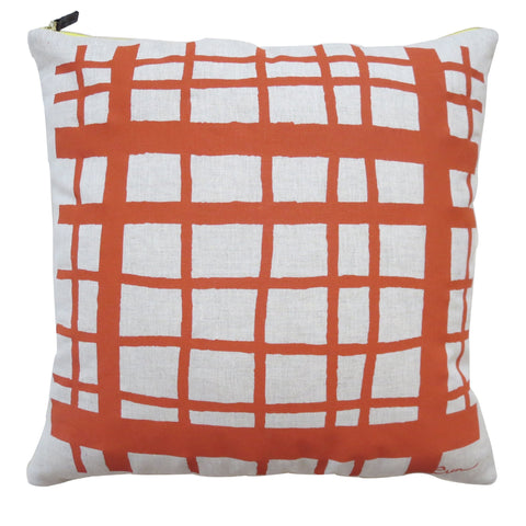 PICNIC OATMEAL LINEN PILLOW COVER IN TOMATO