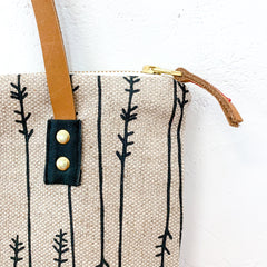 WORN BLACK TWIGS OATMEAL HEAVY LINEN MOD TOTE