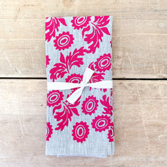BERRY WALLFLOWER OATMEAL LINEN NAPKINS