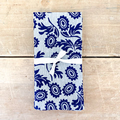 ROYAL BLUE WALLFLOWER OATMEAL LINEN NAPKINS