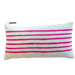 BERRY PINK 6 LINES PILLOW ON HEAVY OATMEAL LINEN