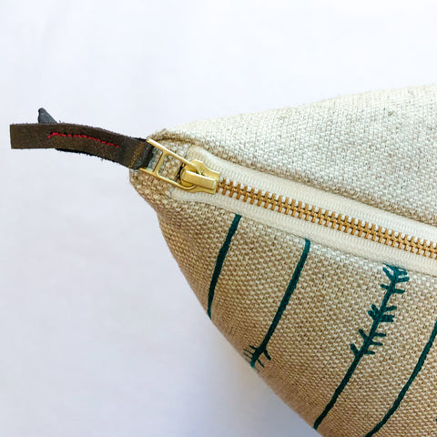 Copy of EMERALD TWIGS HEAVY OATMEAL LINEN PILLOW