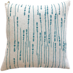 EMERALD TWIGS PILLOW ON HEAVY OATMEAL LINEN