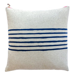 NAVY 6 LINES HEAVY OATMEAL LINEN PILLOW