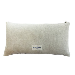 NAVY THIN VELVET BAND HEAVY OATMEAL LINEN PILLOW