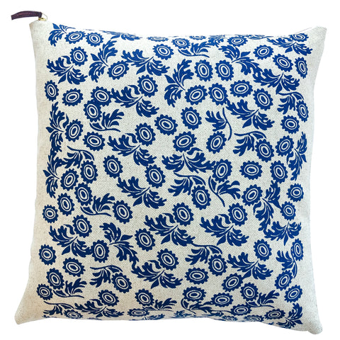 ROYAL BLUE WALLFLOWER PILLOW ON HEAVY OATMEAL LINEN