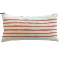 6 LINES TOMATO PILLOW ON HEAVY OATMEAL LINEN