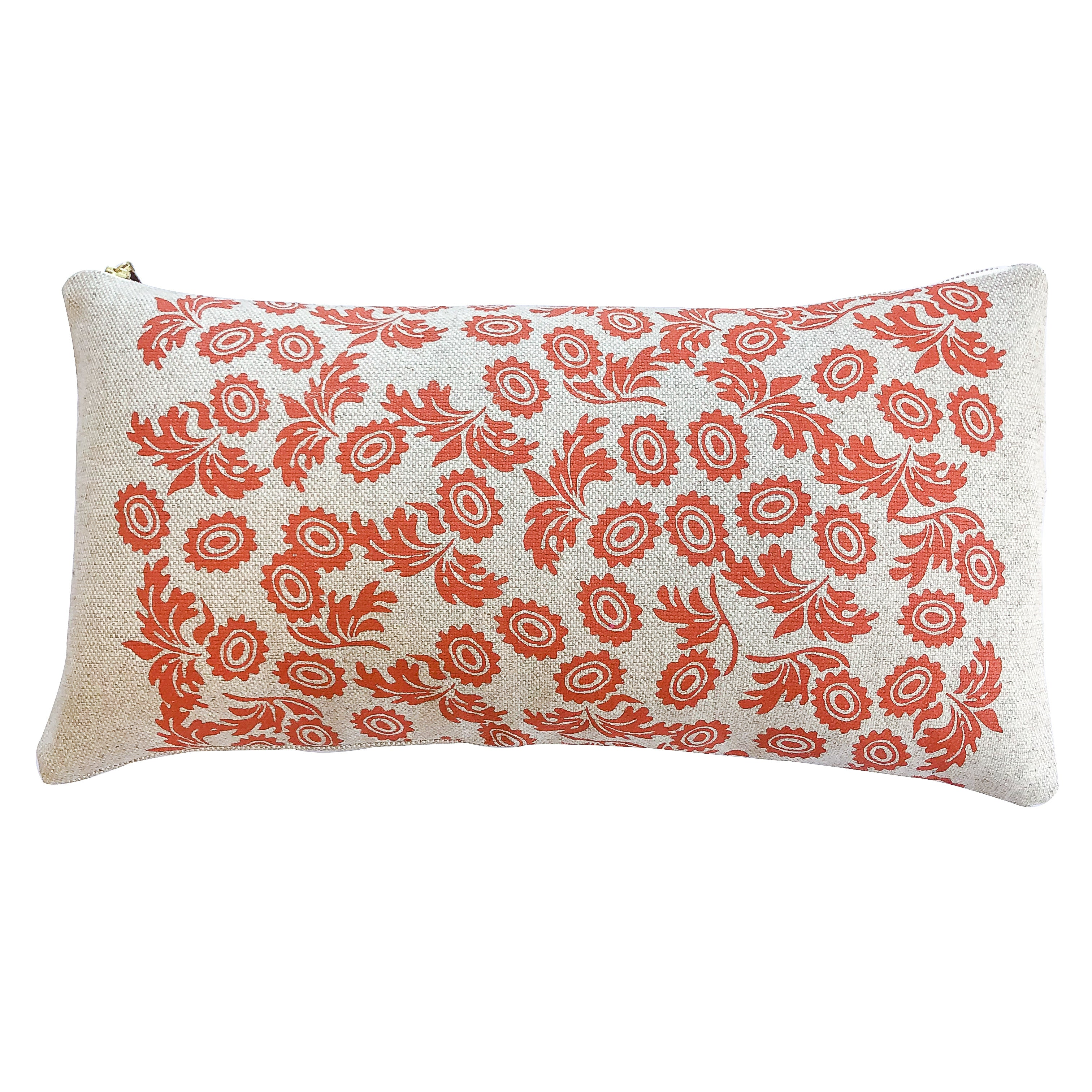 WALLFLOWER TOMATO PILLOW ON HEAVY OATMEAL LINEN