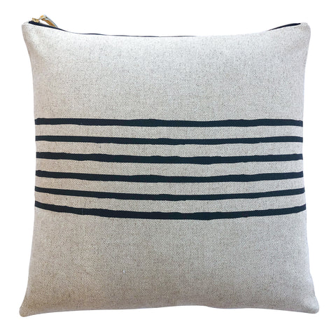 6 LINES WORN BLACK PILLOW ON HEAVY OATMEAL LINEN