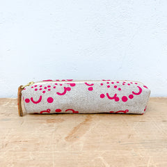 BERRY PINK DANDELION OATMEAL LINEN PENCIL ZIPPER BAG