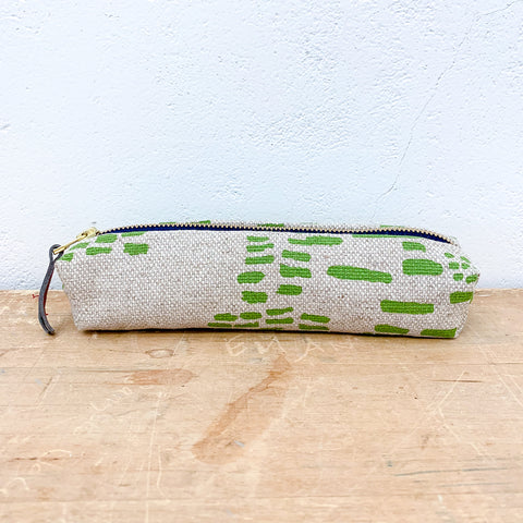 EVERGREEN RAIN OATMEAL LINEN ROUND PENCIL ZIPPER BAG