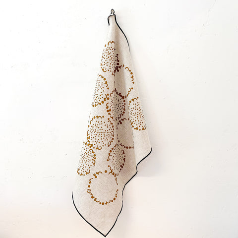 CHOCOLATE DANDELION OATMEAL LINEN TEA TOWEL