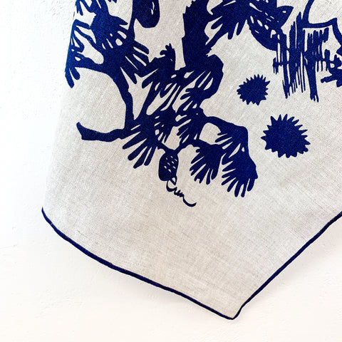 NAVY DEEP WOODS OATMEAL LINEN TEA TOWEL