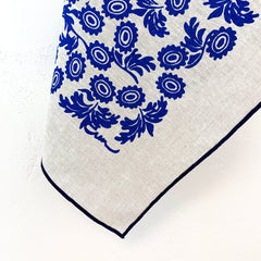 ROYAL BLUE WALLFLOWER OATMEAL LINEN TEA TOWEL