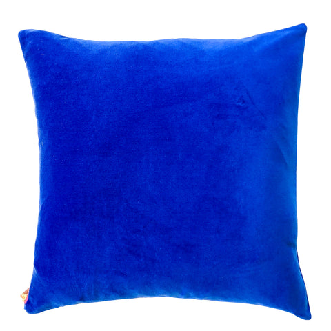 ROYAL BLUE COTTON VELVET PILLOW