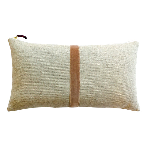 CASHMERE THIN VELVET BAND HEAVY OATMEAL LINEN PILLOW