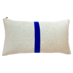 ROYAL THIN VELVET BAND HEAVY OATMEAL LINEN PILLOW