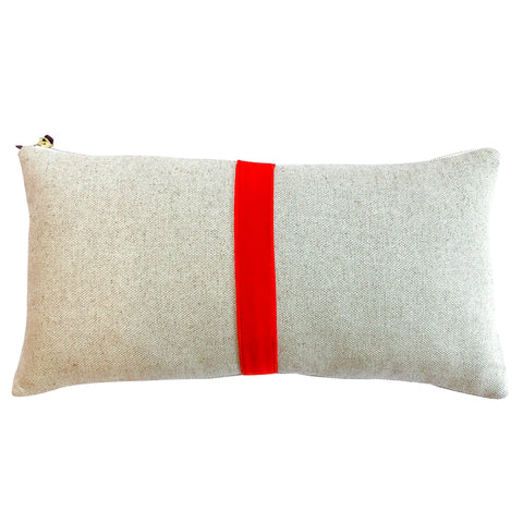 TOMATO THIN VELVET BAND HEAVY OATMEAL LINEN PILLOW