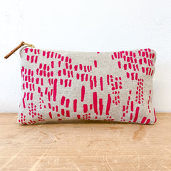BERRY PINK RAIN OATMEAL LINEN CLUTCH ZIPPER BAG