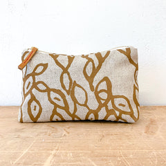 SIENNA PODS OATMEAL LINEN MAKE UP ZIPPER BAG