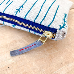 EMERALD TWIGS OATMEAL LINEN CLUTCH ZIPPER BAG