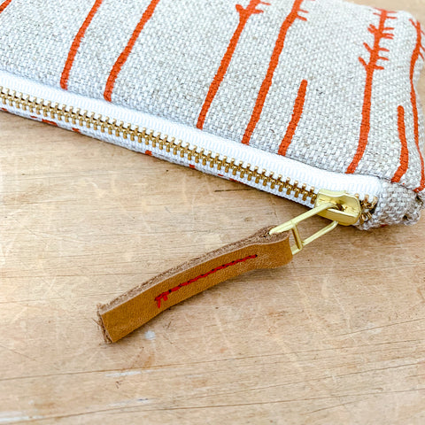 TOMATO TWIGS OATMEAL HEAVY LINEN CARD WALLET ZIPPER BAG